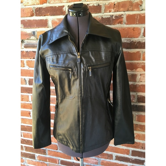 Outbrook Jackets & Blazers - Outbrook Faux-Leather Jacket Zip Front Black S